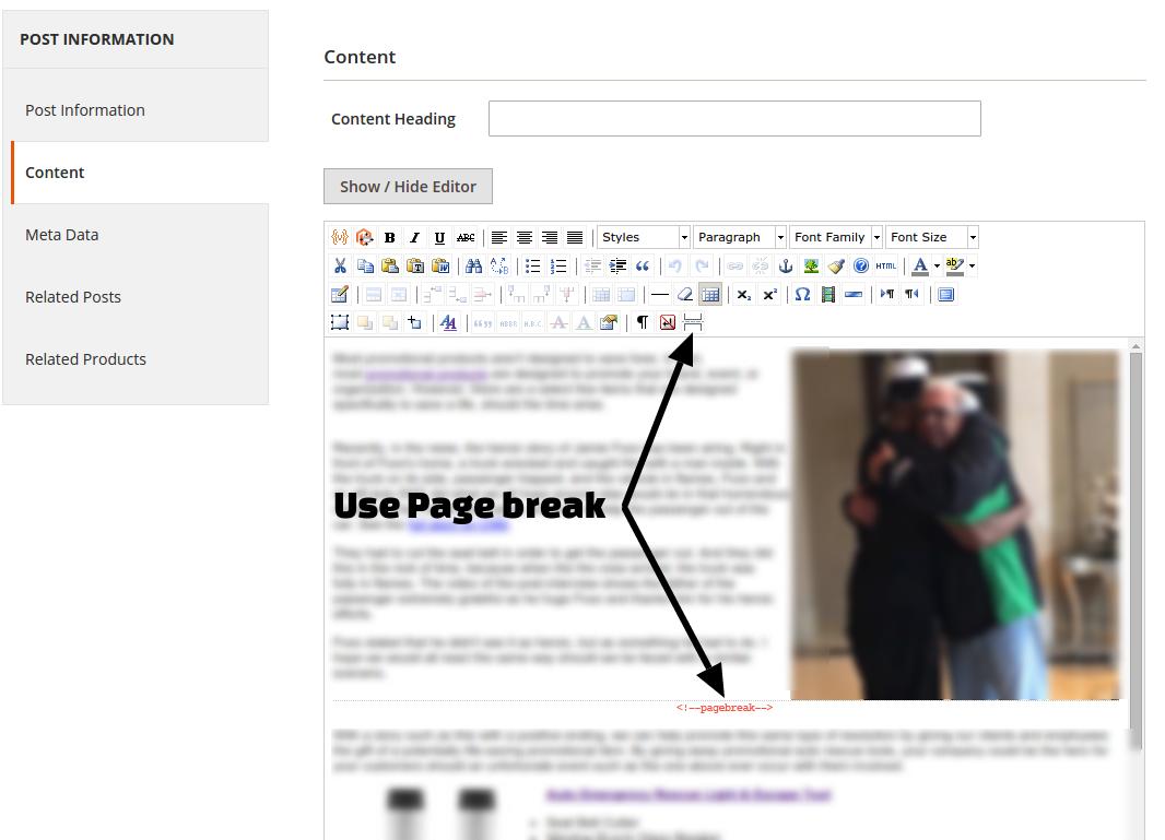 Як додати розрив сторінки в публікації блогу Magento 2