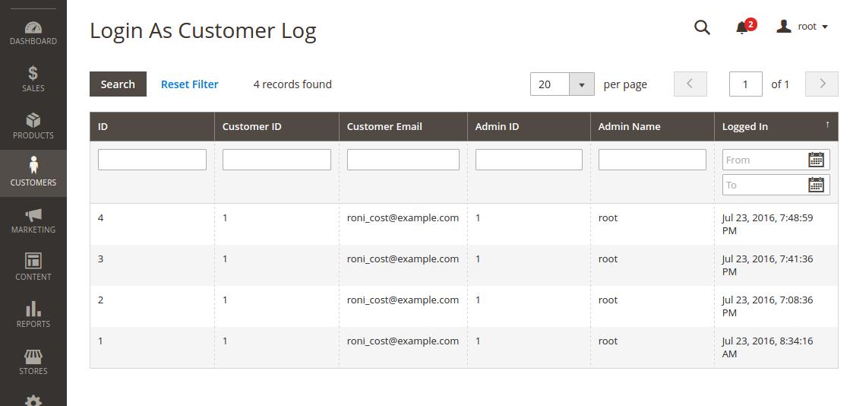 Login as Customer Entrance Log Grid