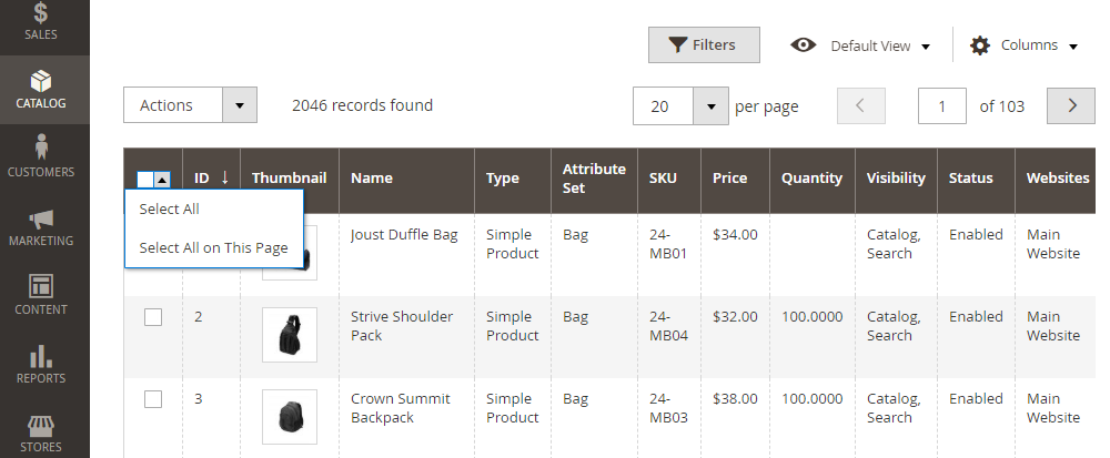 Magento 2 select all products in the product grid