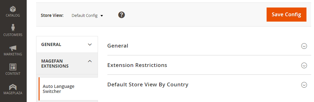 Magento 2 Auto LanguageSwitcher,General,ExtentionRestrictions,Default storeViewBy Country