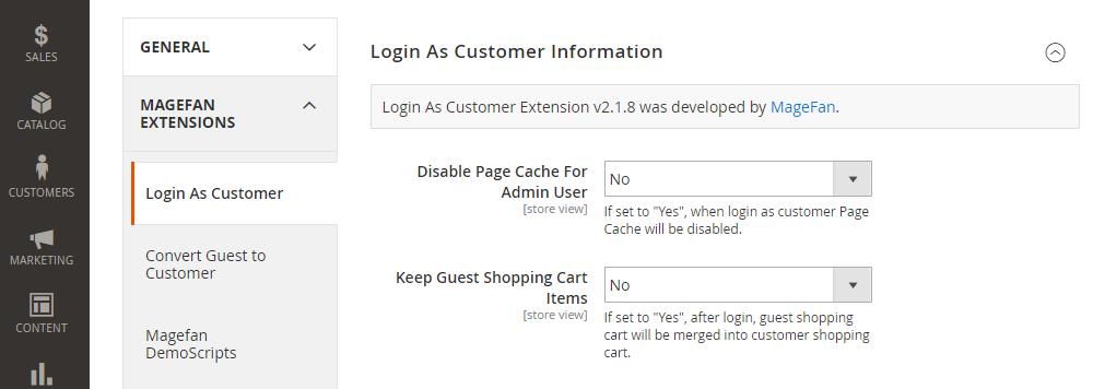 Magento 2 Login as Customer,Information