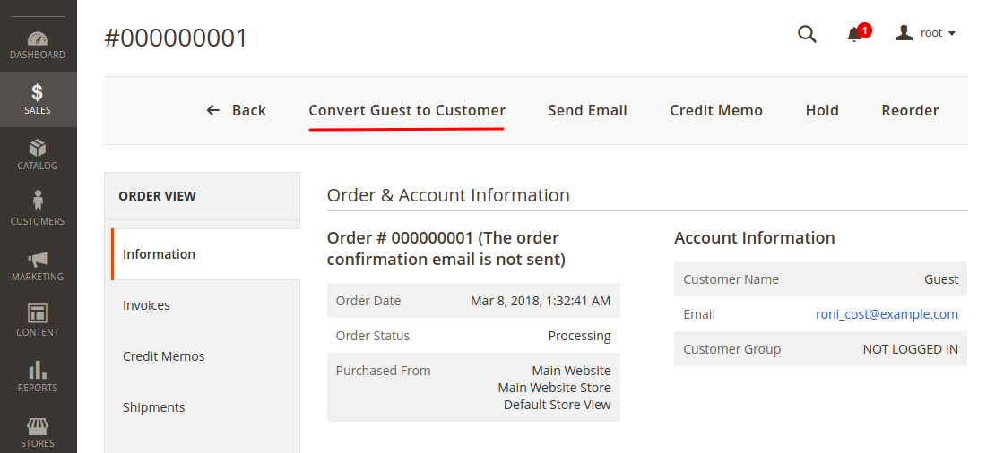 Convert Magento 2 guest order to customer